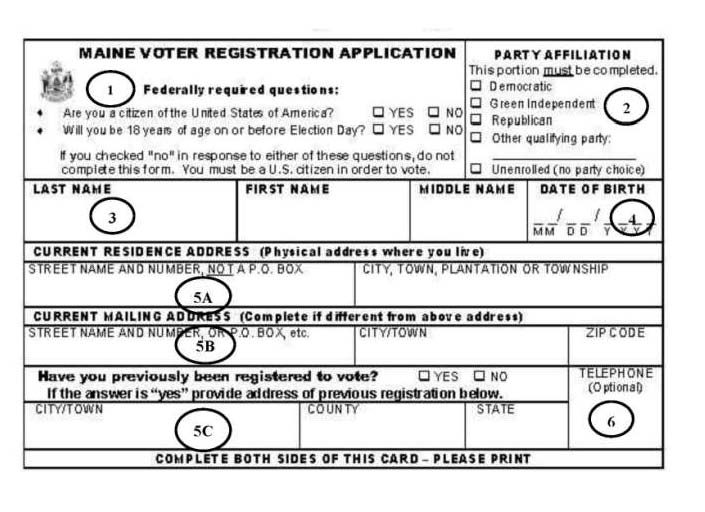 Front Voter Registration Card